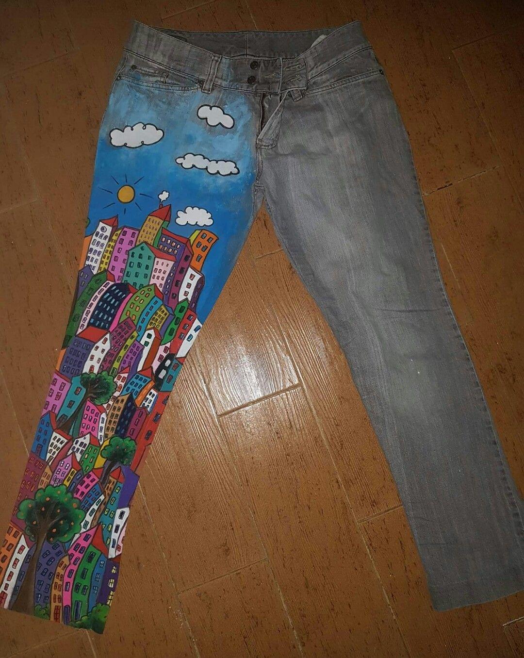 Pantalones Pintado A Mano Alzada Pantalones Ropa Pintura En Tela