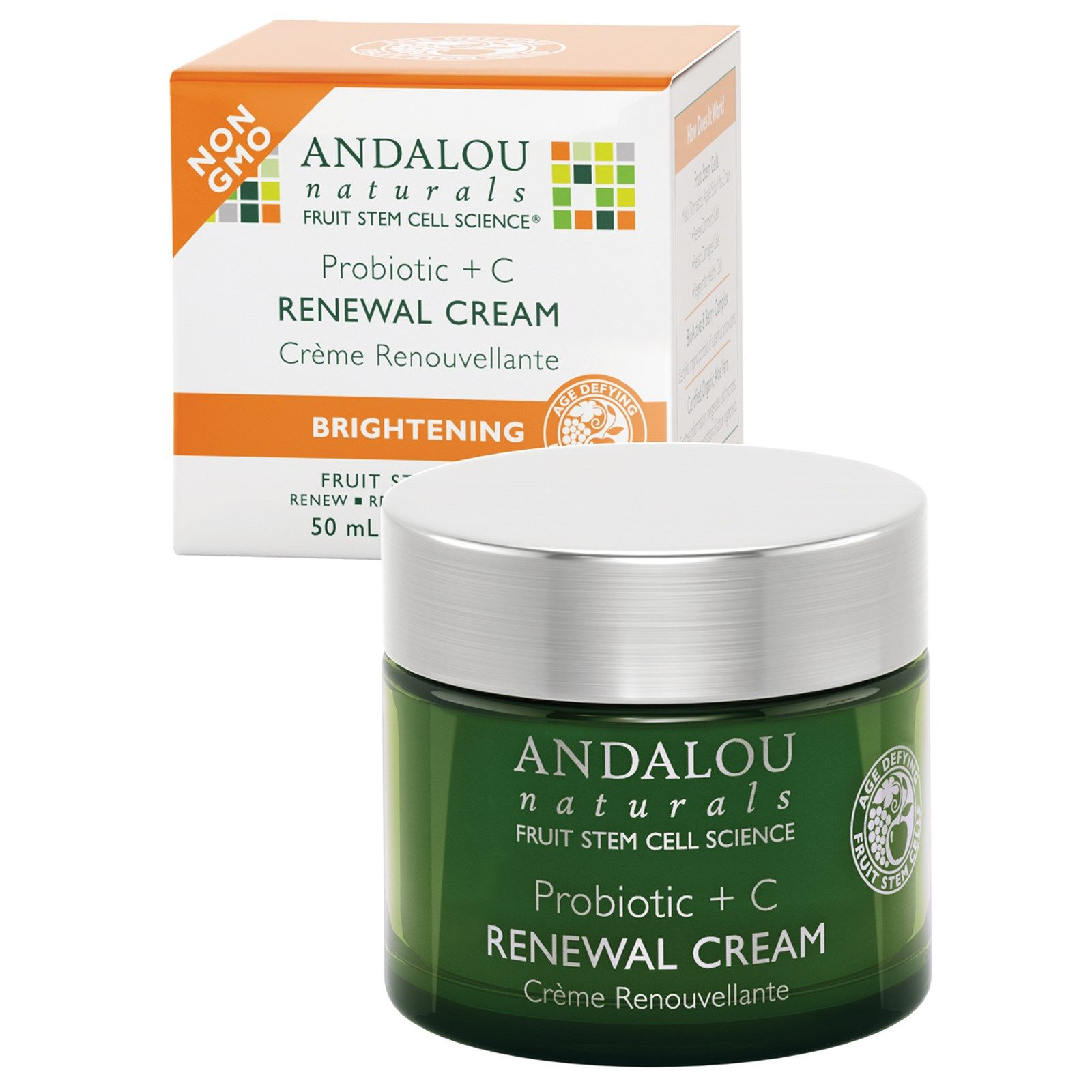 Brightening Probiotic + C Renewal Cream - 1.7 oz. by Andalou Naturals (pack of 2) Moisture Skin Cleansing Cream 6.76oz