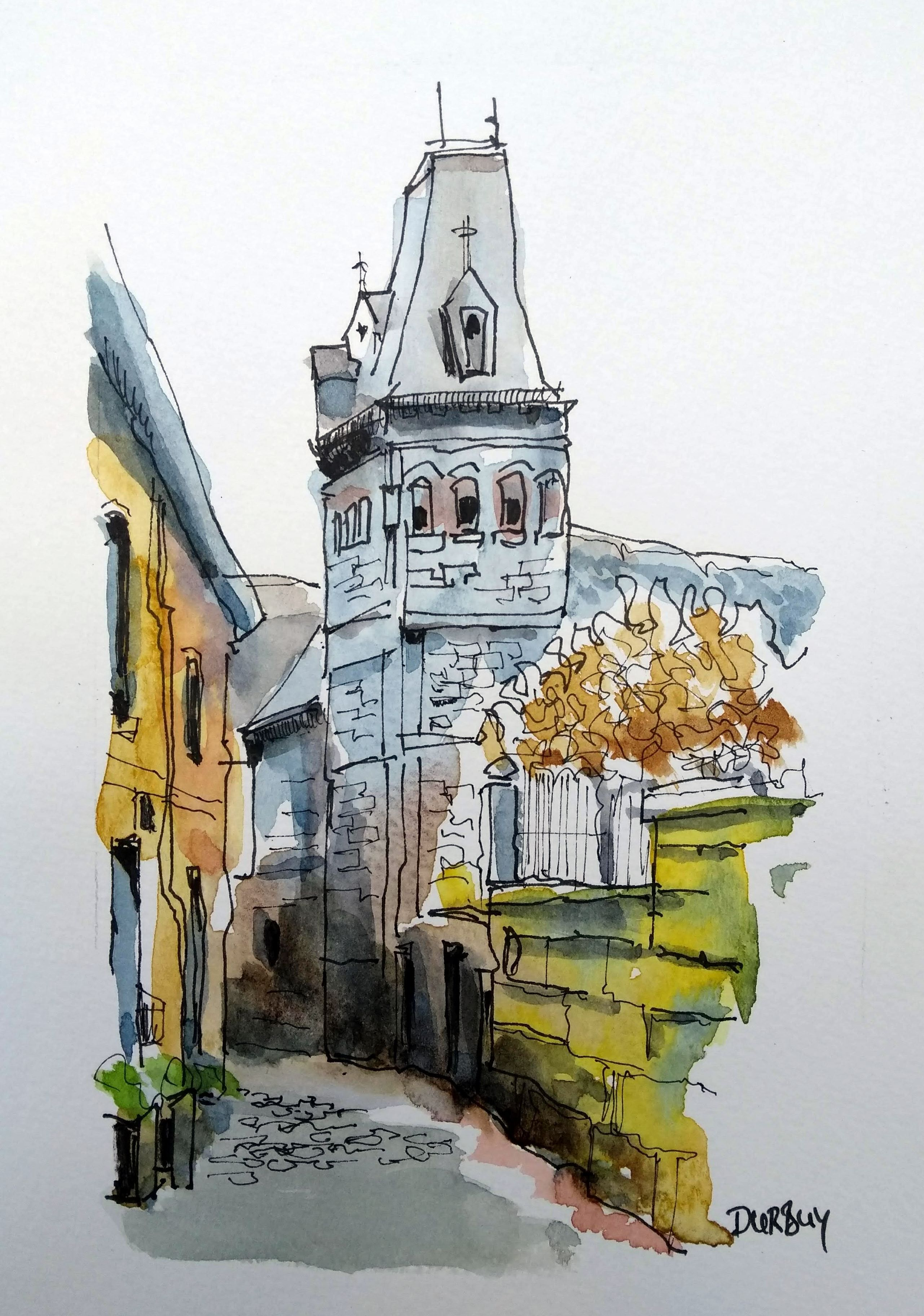 Durbuy Watercolor Architecture Watercolor Art Journal Minimal