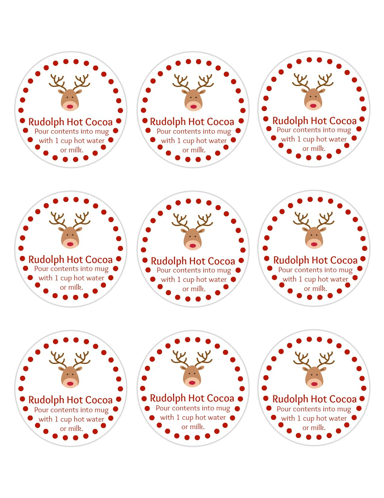Reindeer Hot Chocolate Bags With Free Printable Tags