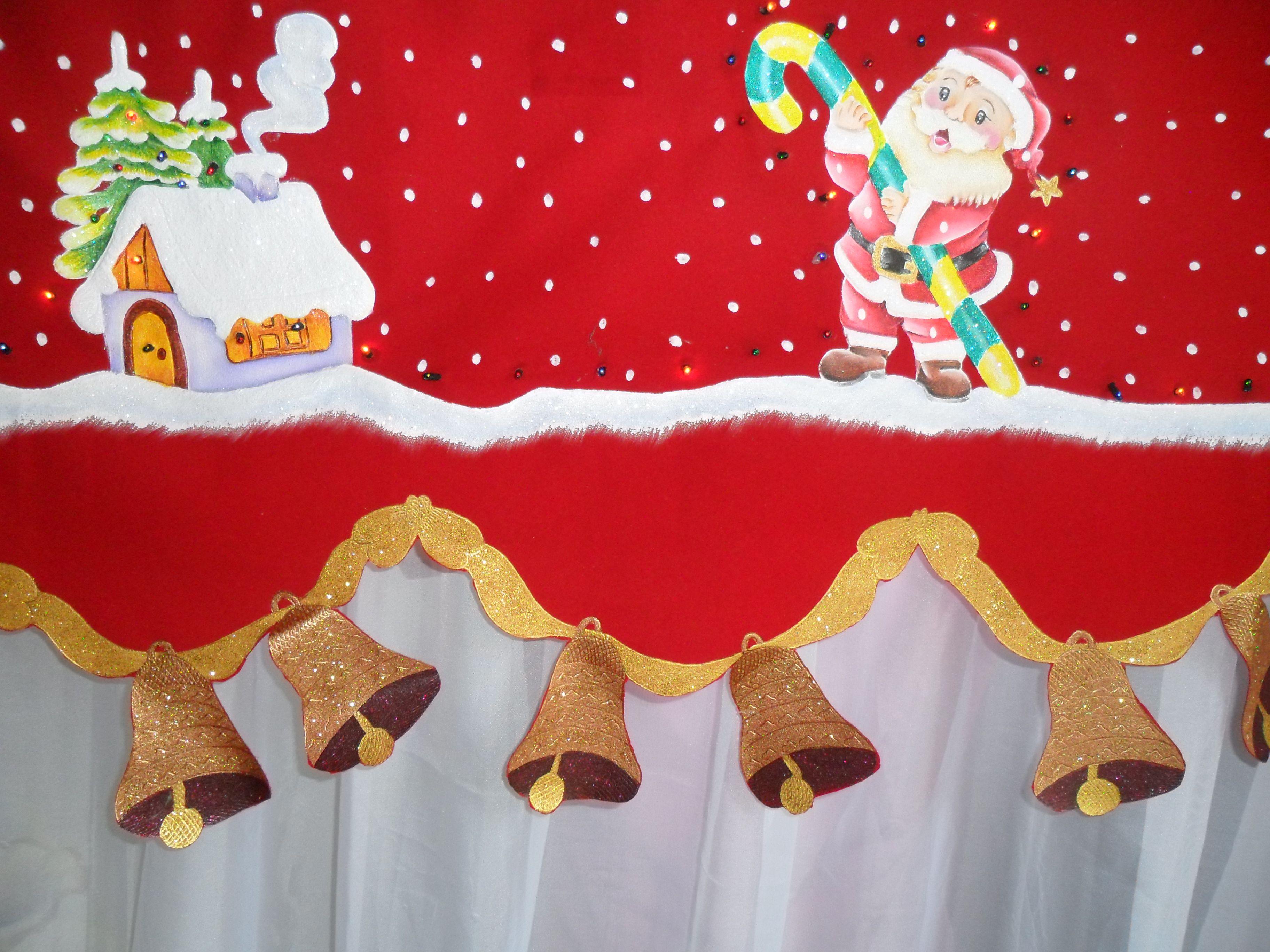 Cenefa navide a con luces incorporadas pintada a mano - Apliques para cortinas ...