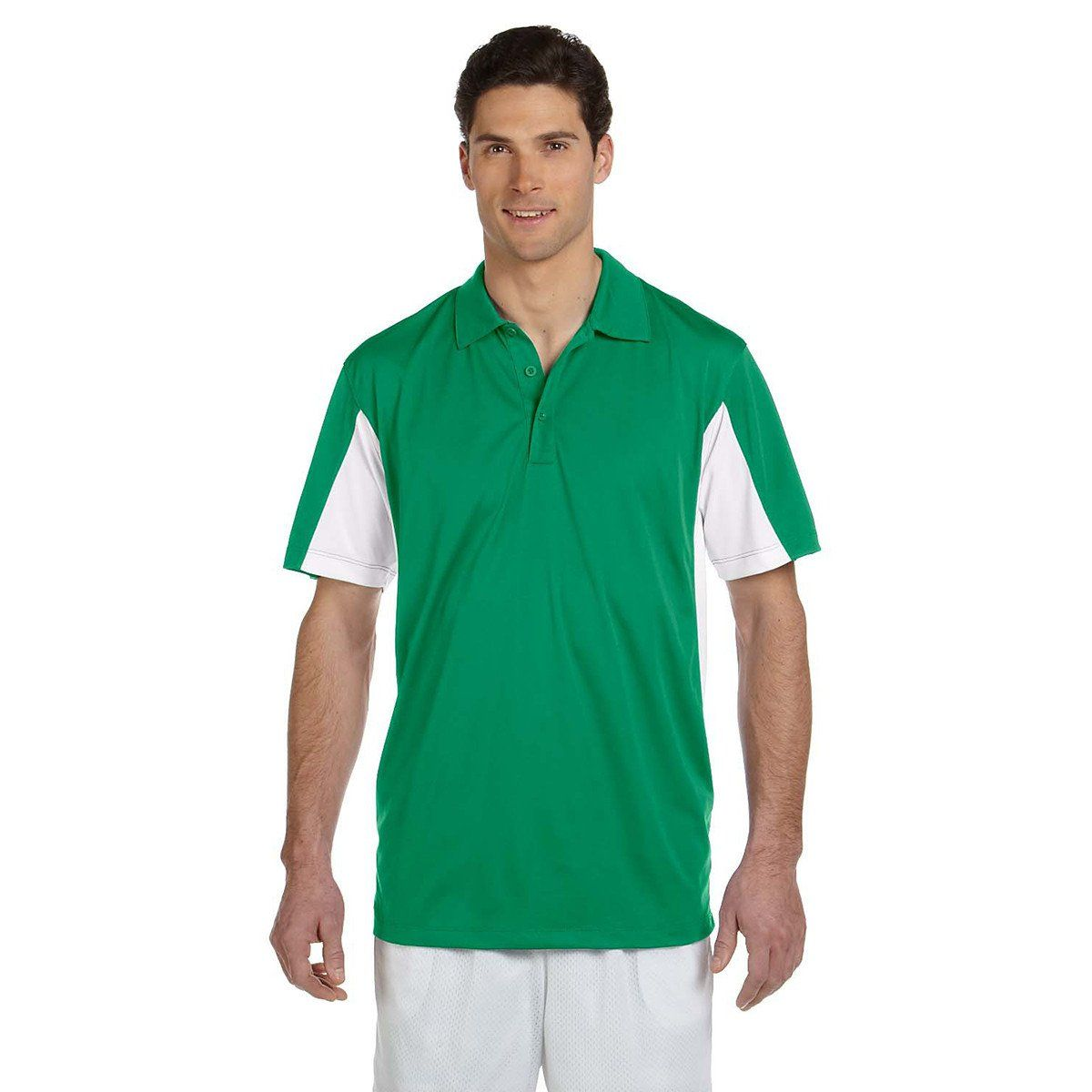 Harriton Men's Kelly/White Side Blocked Micro-Pique Polo