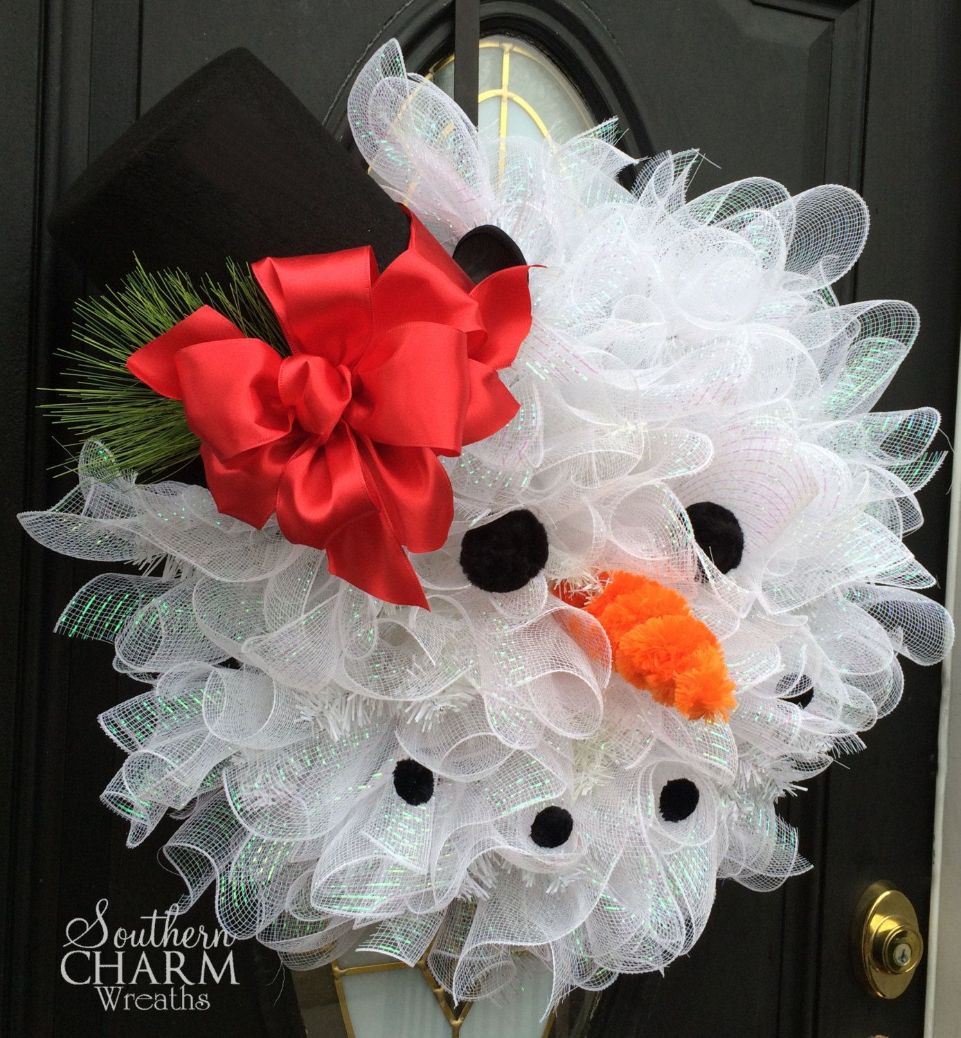 Frosty The Snowman Wreath Deco Mesh Snowman Face Wreath Snowman