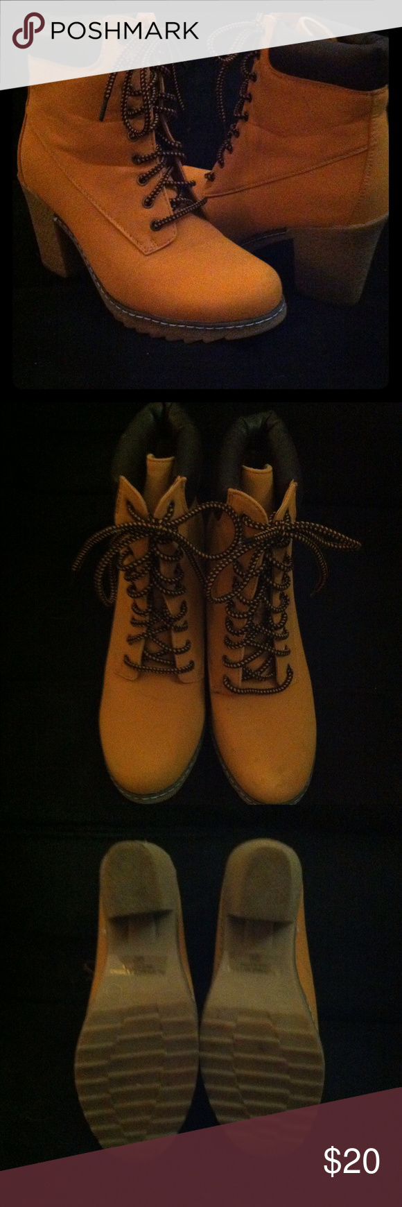 """Brand New """"work boot"""" heels Brand New, Tan/Brown 'Work Boot' Style Heels. Very on point trend right now, and unbelievably comfortable! Too big for me, but way too cute to not be worn! Shoes Lace Up Boots"""