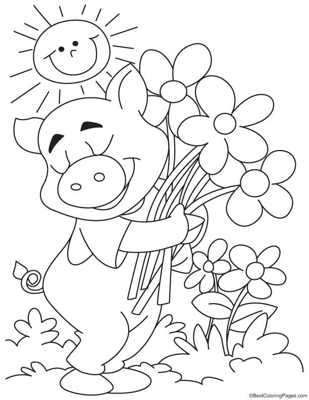 Happy Pig Coloring Page Spring Coloring Pages Farm Coloring Pages Dinosaur Coloring Pages