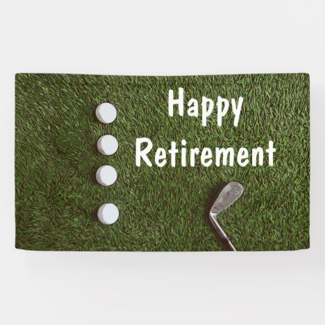 Golf happy retirement with golf balls on green banner   Golf happy retirement with golf balls on green banner   Golf happy retirement with golf balls on green banner