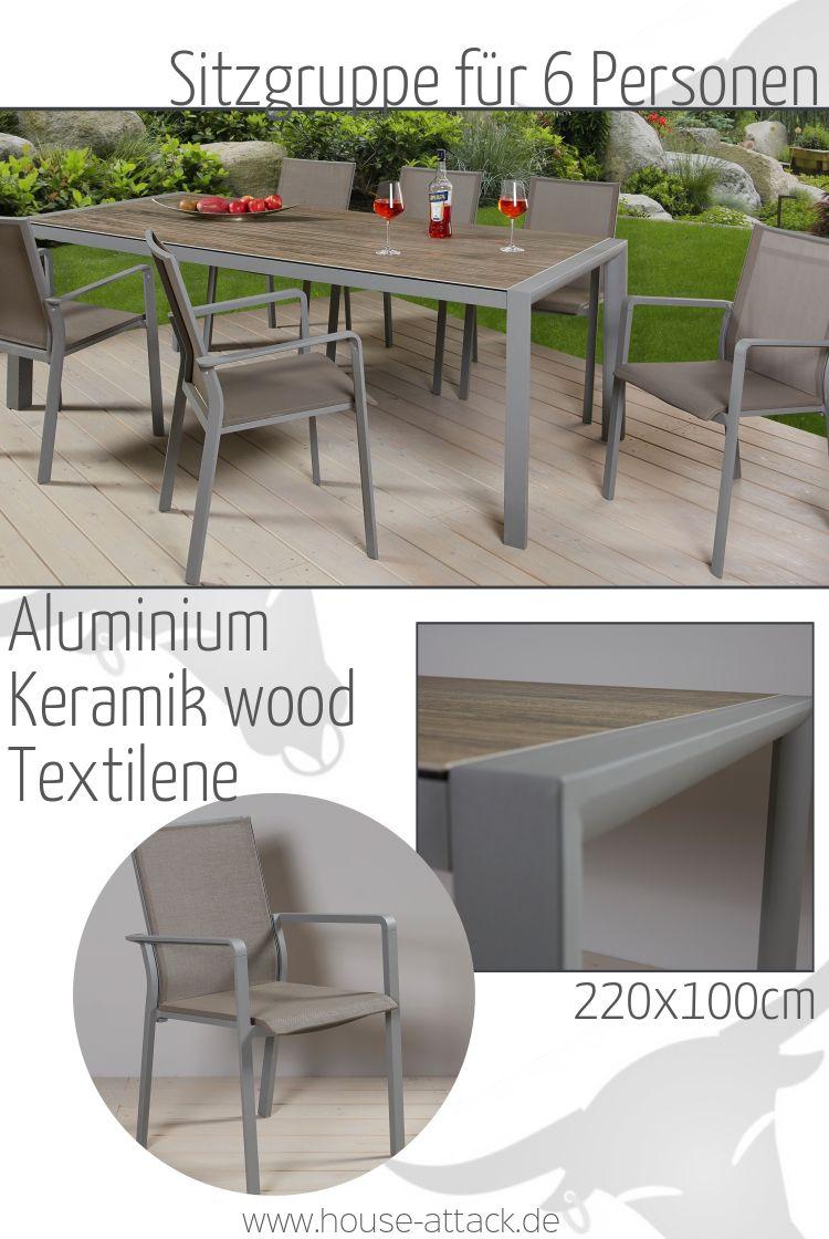 Lc Garden Esstisch Cannes 220 X 100 Cm Aluminium Keramik Glas Wood