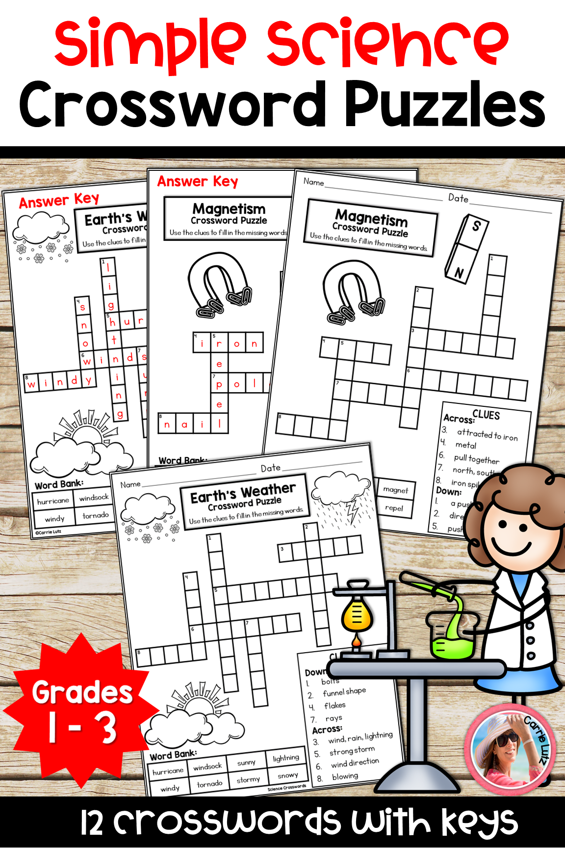 Simple Science Crossword Puzzles Distance Learning Science Puzzles Crossword Puzzles Fun Science