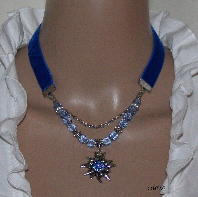Dirndl Necklace With Edelweiss Blue Edelweiss Schmuck