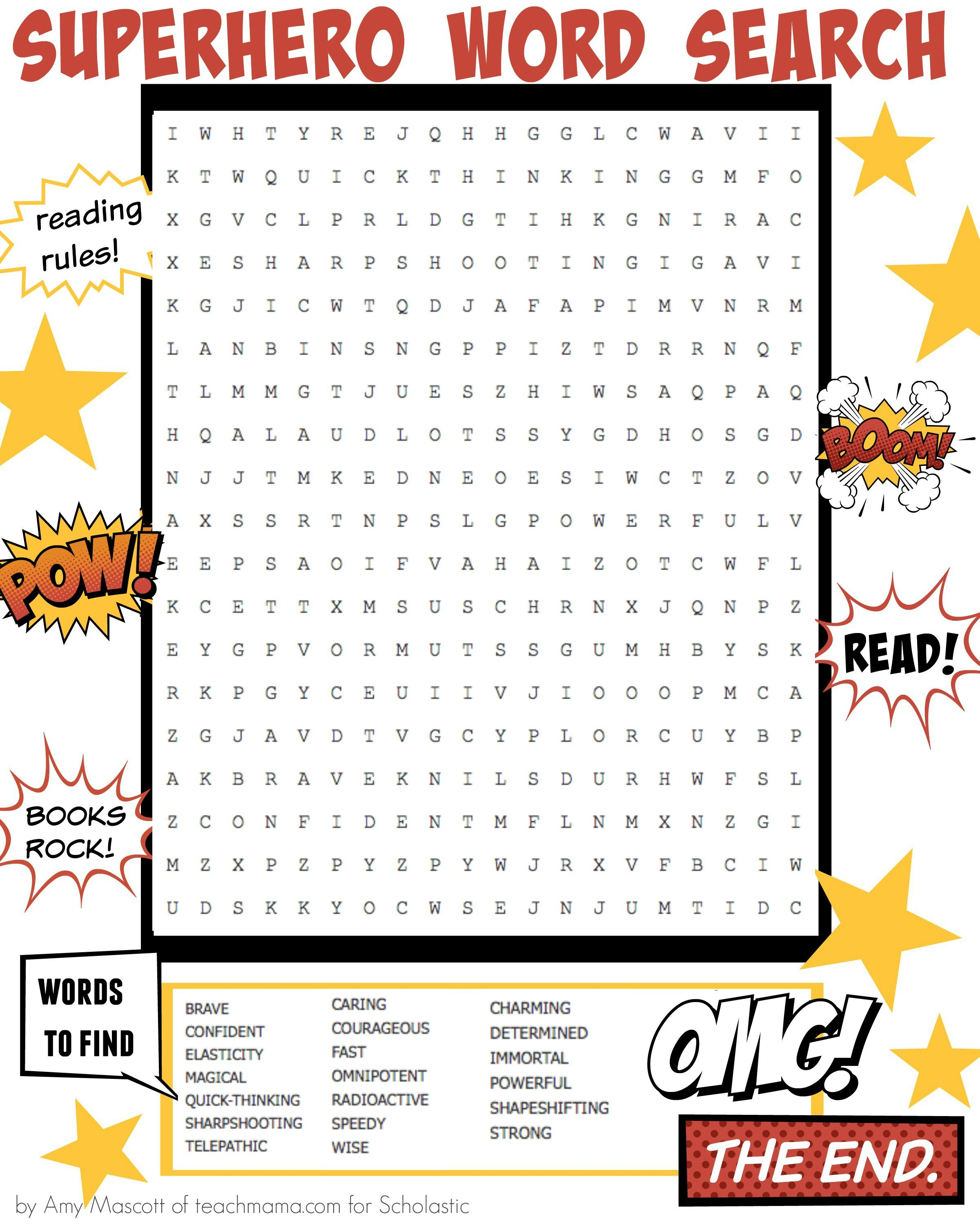 Bam Pow This Superhero Word Search Builds An Epic