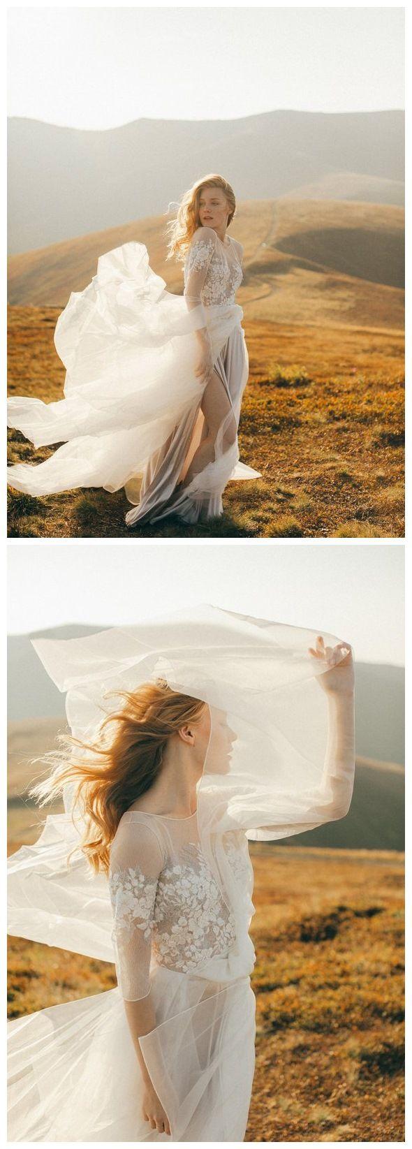 See through ivory country wedding dresses long sleeve boho wedding
