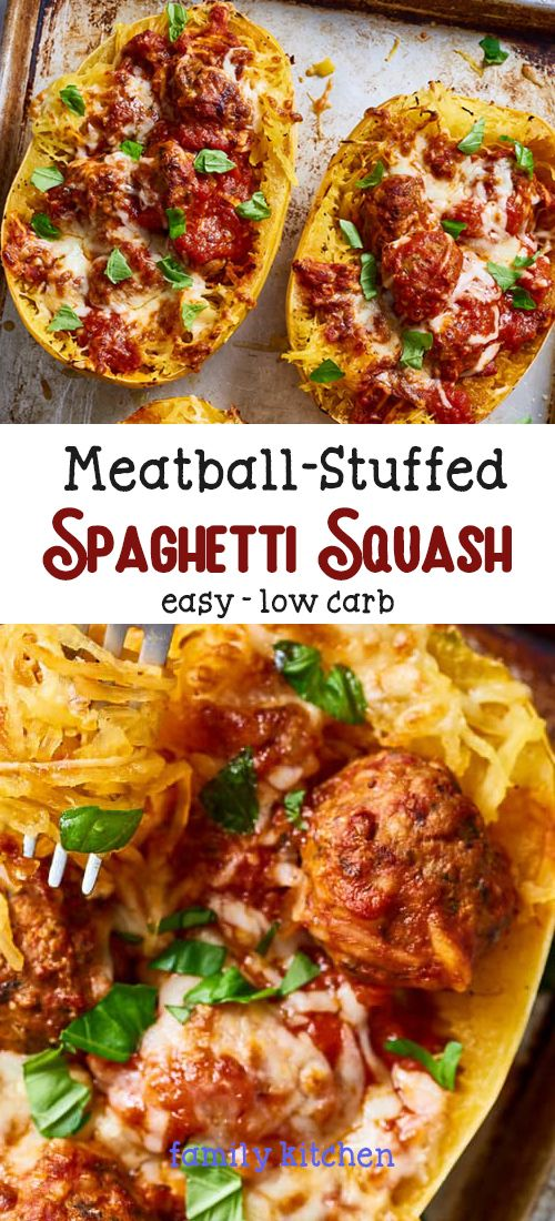 Easy Meatball-Stuffed Spaghetti Squash ( Low-Carb ) #stuffedspaghettisquash
