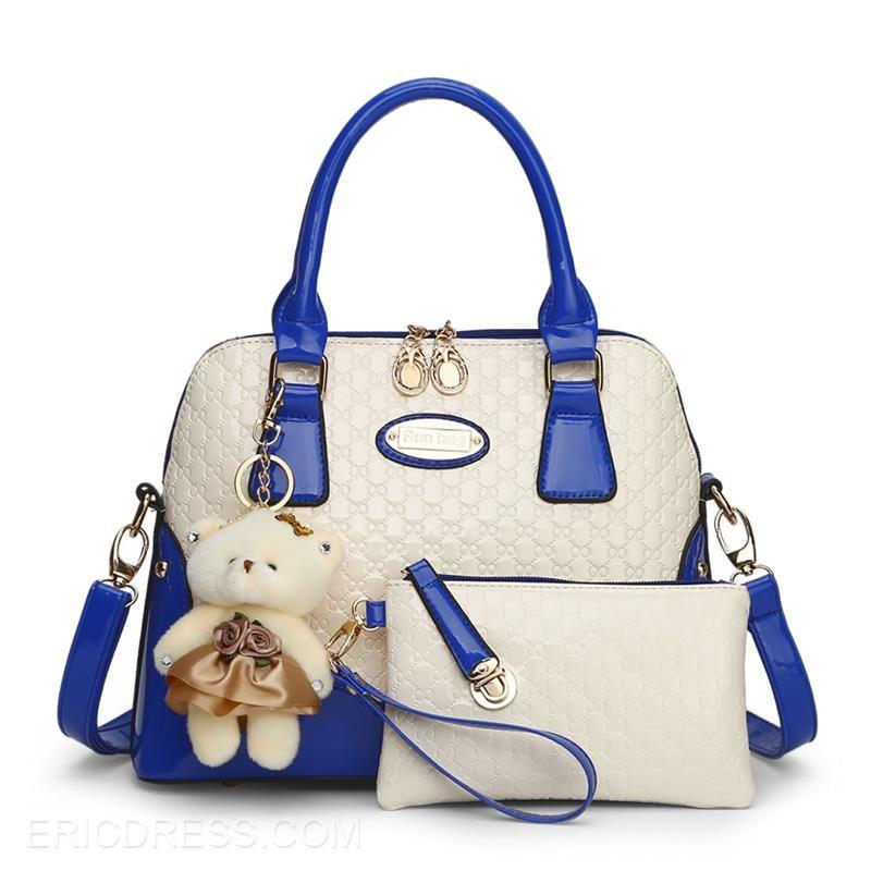 Ericdress Color Block Embossing Handbag (2 Bags) Handbags