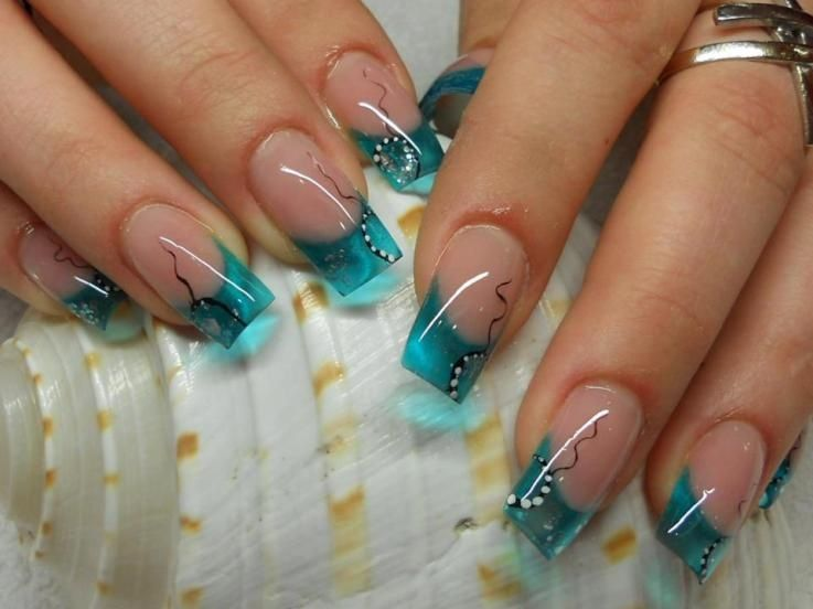 Turquoise water nails | acrylic nails, gel, acrylic, manicures, nail ...