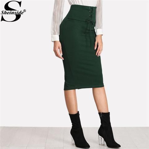 310bf8b11c75 Sheinside 2018 Grommet Lace Up Slit Back Pencil Skirt Green High Waist Knee  Length Zipper Plain