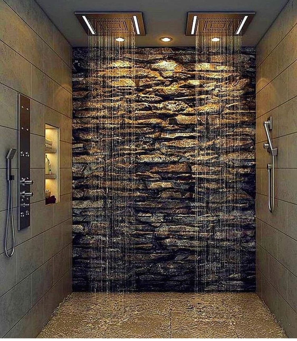 Love The Rainfall Shower Heads And The Look Of The Rock Wall