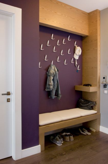 Laundry Room - love the cell charging shelf and randomly placed hooks