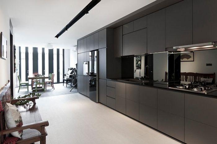 professionell designte Küche als Küchenblock mit verstecktem - raumausstattung ideen