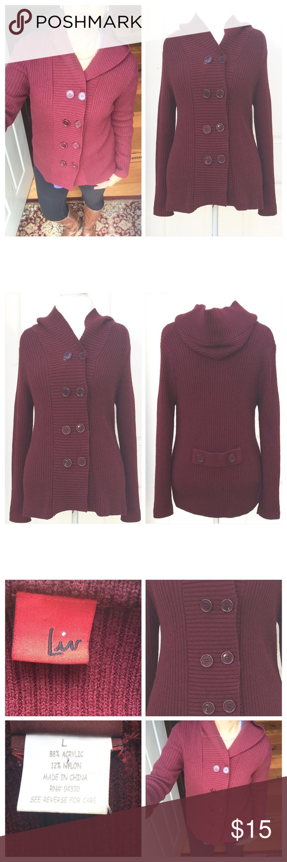 Burgundy Button Up Hooded Sweater Boutique size large burgundy ...