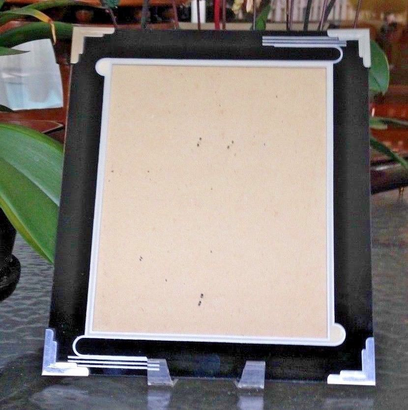 Vintage Art Deco Reverse Painted Mat Glass Picture Frame 10 X 12