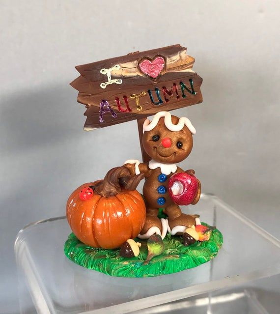 Gingerbread Boy Autumn Scene - Miniature Polymer Clay Collectible - Sculpted Figurine - OOAK Clay Fi #autumnscenes