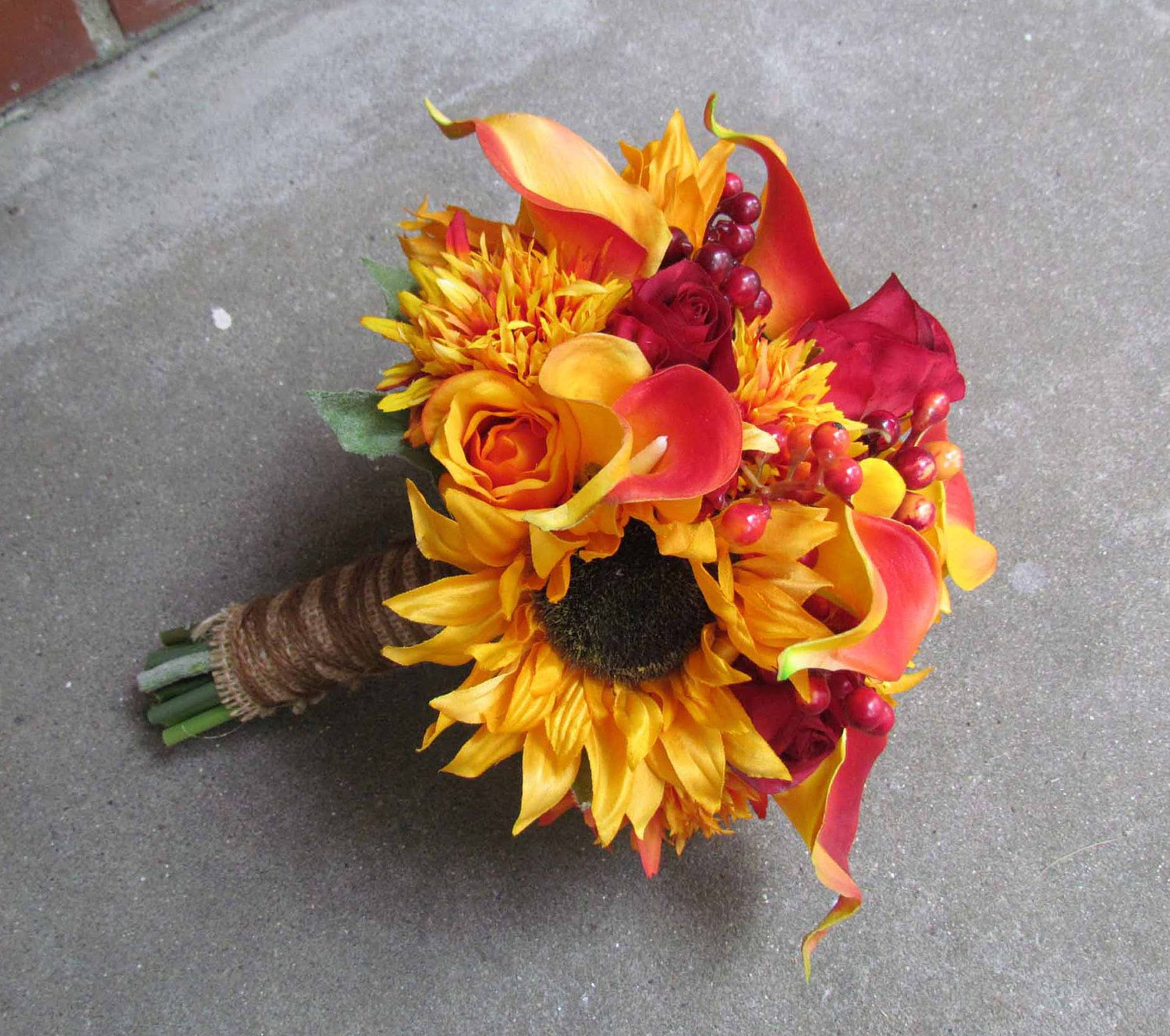 Yellow Wedding Flowers Ideas: Red Rose & Yellow Sunflower Bridal Bouquet...Ready To Ship
