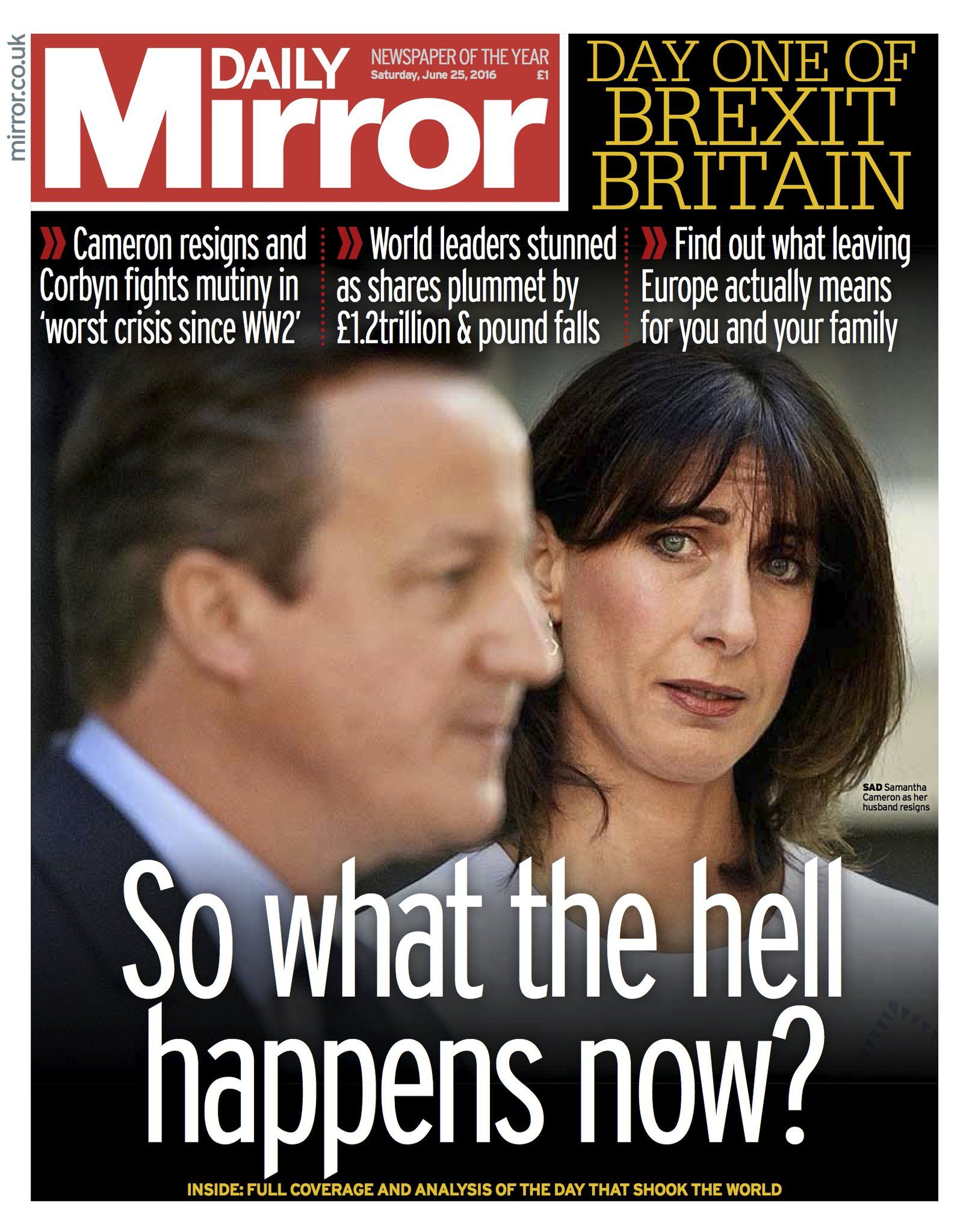 Daily Mirror on Brexit, Britain, Newspaper front pages