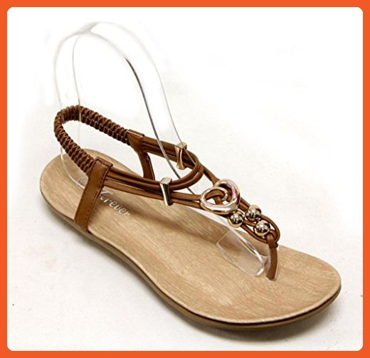 Forever Calista-84 Women's Golden Ball and Heart Decor T-Strap Elastic Ankle Strap Thong Sandals Tan 8.5