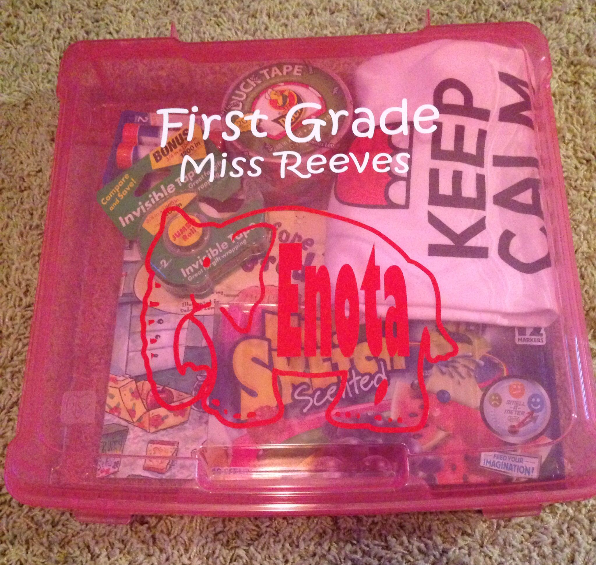 """First Grade First Day of School Gift for my daughter.  12x12 Scrapbook box from Michaels.  Silhouette Cameo vinyl letters and packed with some things to survive.  """"'Twas the night before 1st grade"""" book, duct tape, scotch tape, glue sticks, spirit shirt, and the super fun Mr. Sketch scented markers.  After we empty it, we will fill it with memories of the year.  Ex: report cards, art work, etc."""