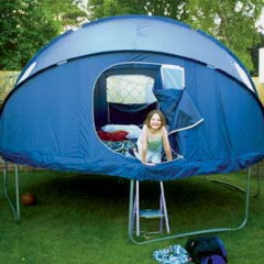 Trampoline tent. This tent fixture ($`250, plus delivery from the UK) clips onto the edge of a circular trampoline, converting it into a tent or backyard playhouse for kids. It features four windows and two zip-up doors, and comes with a waterproof fly sheet. This is so cool.