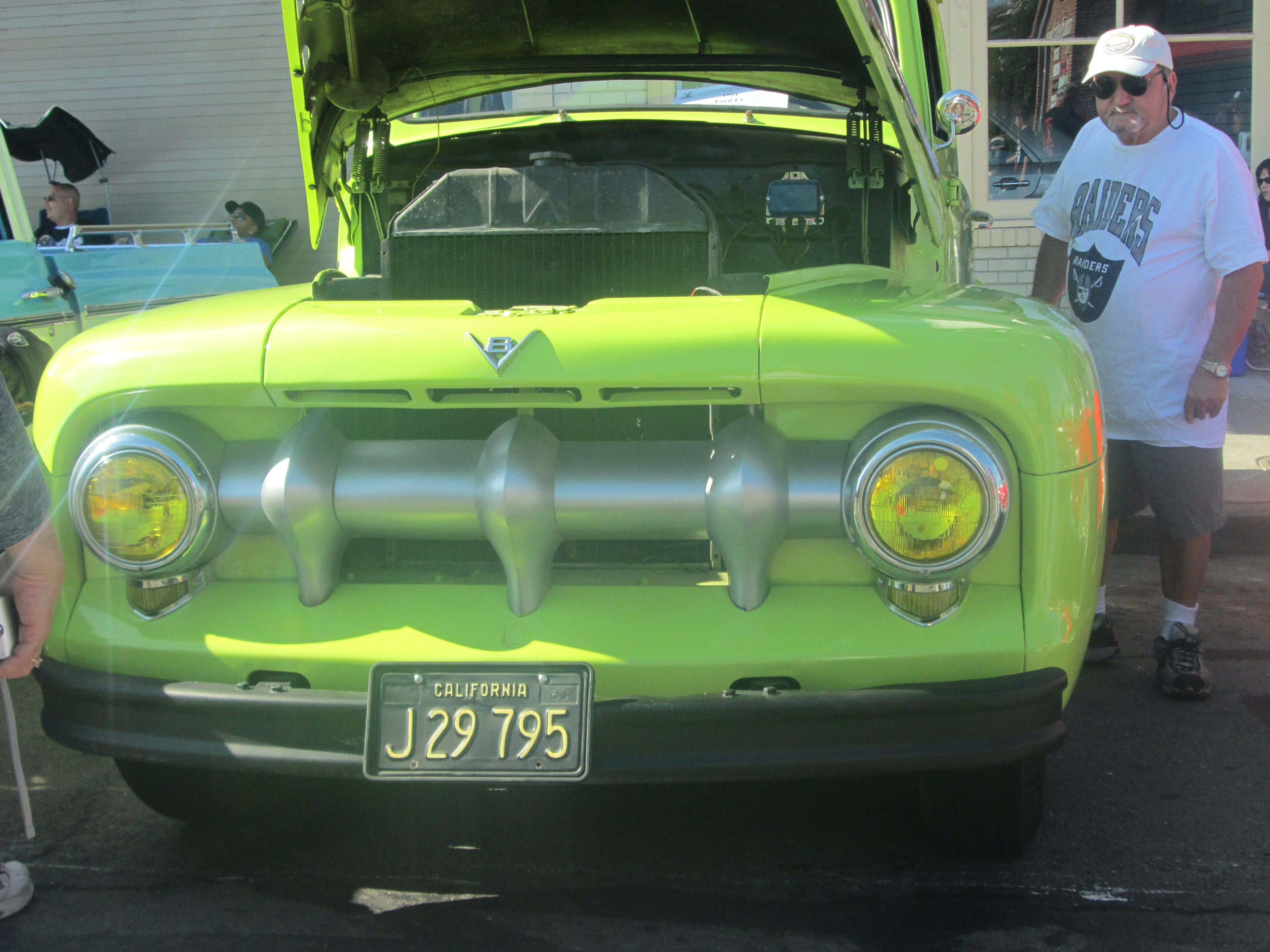 Neon green car.