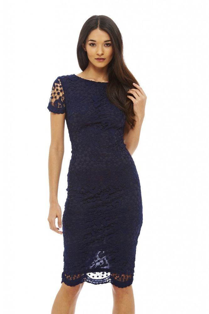 AX Paris Womens Navy Strappy Lace Midi Dress - Online