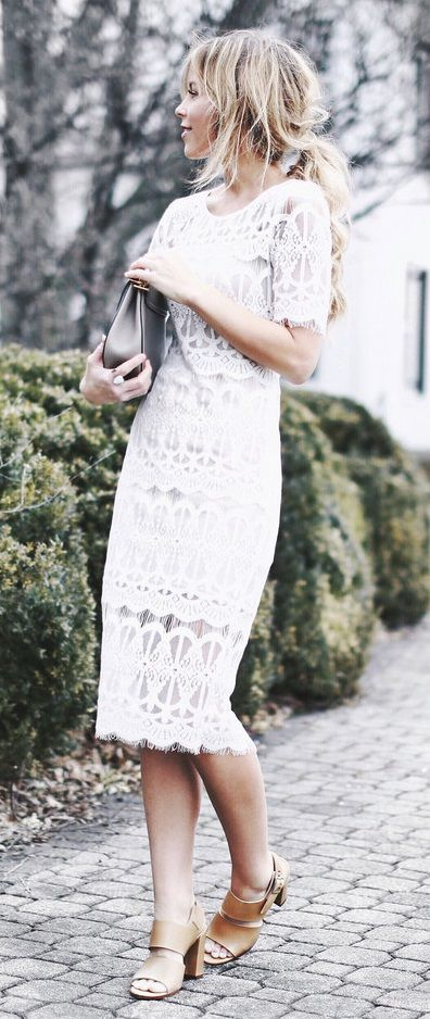 9e64abb2f29 14 inspiring white lace dress outfits for all seasons | Fashion ...