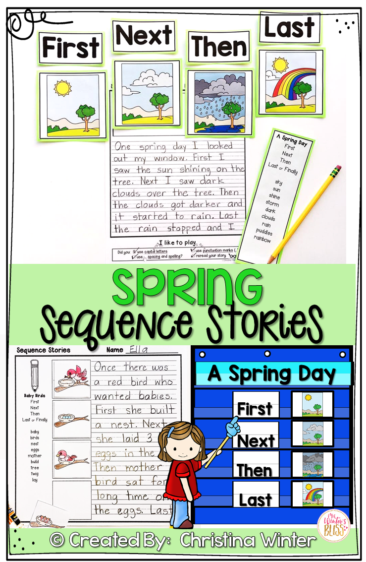 These Story Sequencing Activities Are Perfect For Kindergarten First And Second Grade Students Th Sequence Writing Spring Writing Prompts Elementary Writing