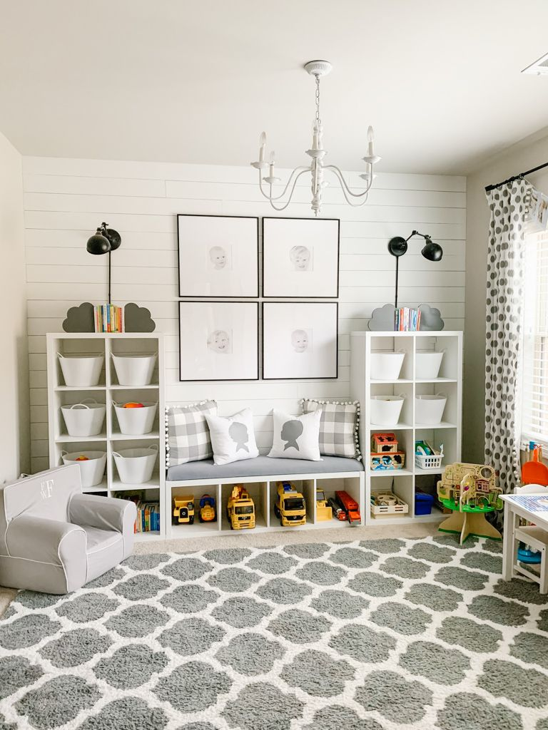 Gray and White Playroom | playroom | ideas | organization | design | ikea hack | storage | decor | furniture | wall decor | for toddlers | shared | gender neutral | Montessori | kids | toddler | ideas for toddlers | basement | ikea kids | ikea | farmhouse | small | paint colors | shiplap | Kallax | rug | DIY | ideas organizing toys | cubes | built in | wall | bench | for large toys | bins | baskets | DIY toy organization | dollar tree | #playroom #playroomideas #toyorganization #toystorage