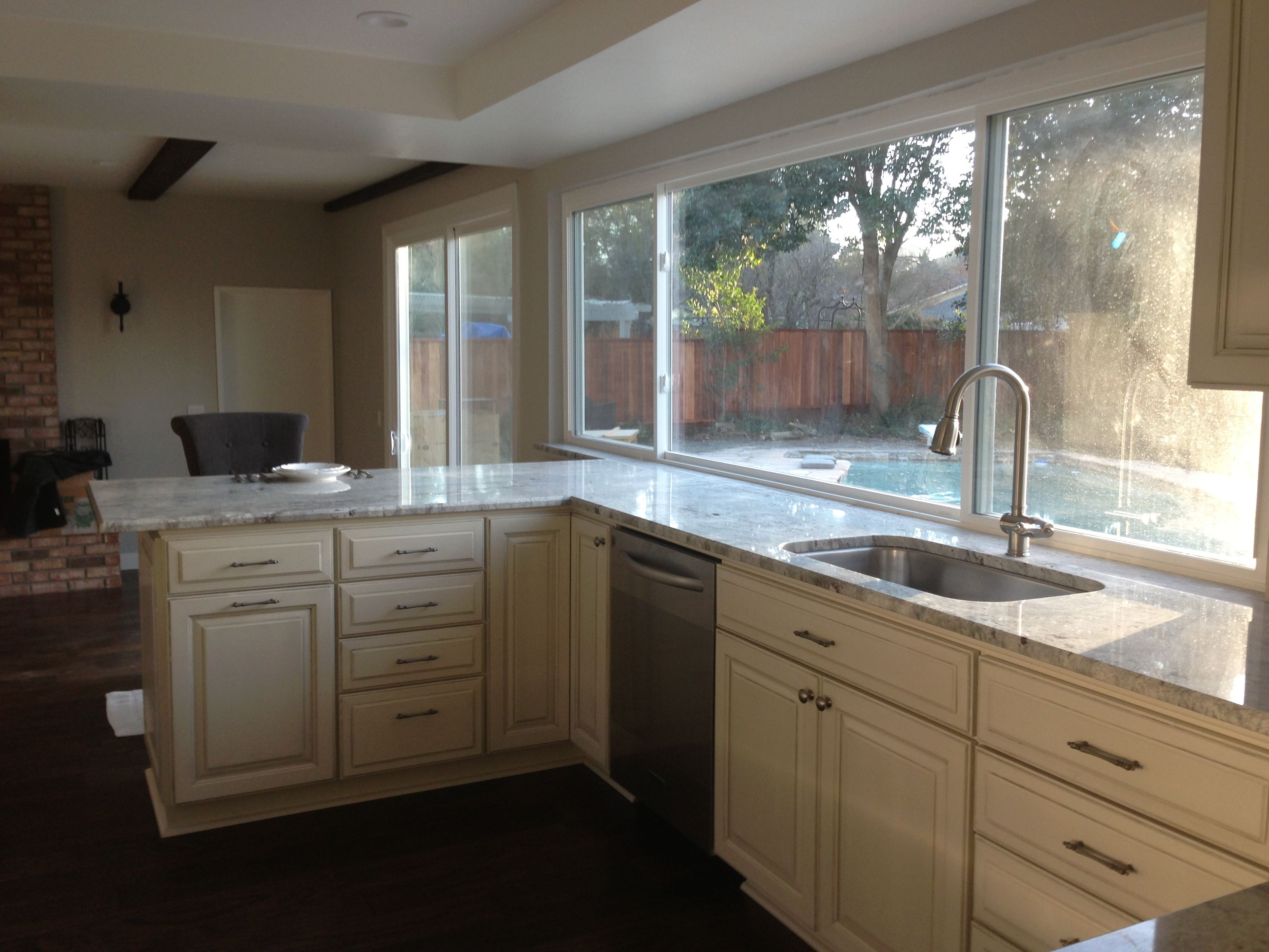Our cabinets Thomasville creme with carrera glaze