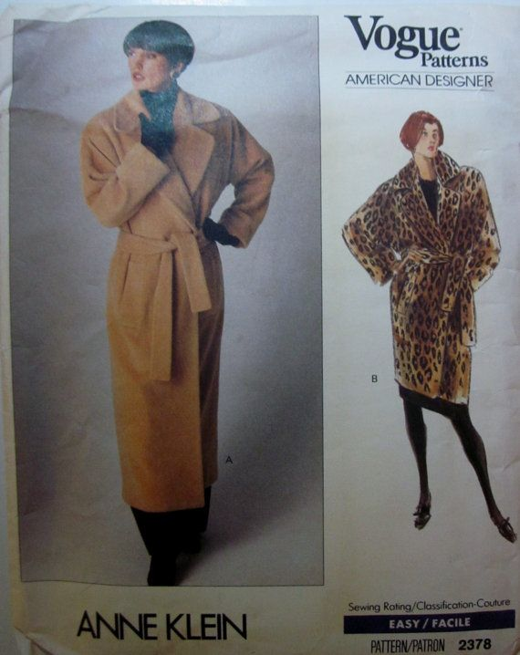 Vogue 2378 Anne Klein Womens Wrap Coat Pattern | sewing ...