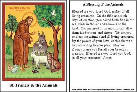 saint francis of assisi prayer for animals | Blessing of the