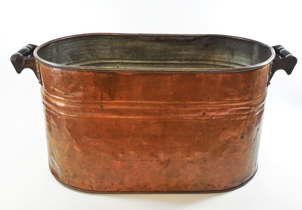antique copper wash tub Large Antique Solid Copper Wash Tub Boiler Pot with Wood Handles  antique copper wash tub