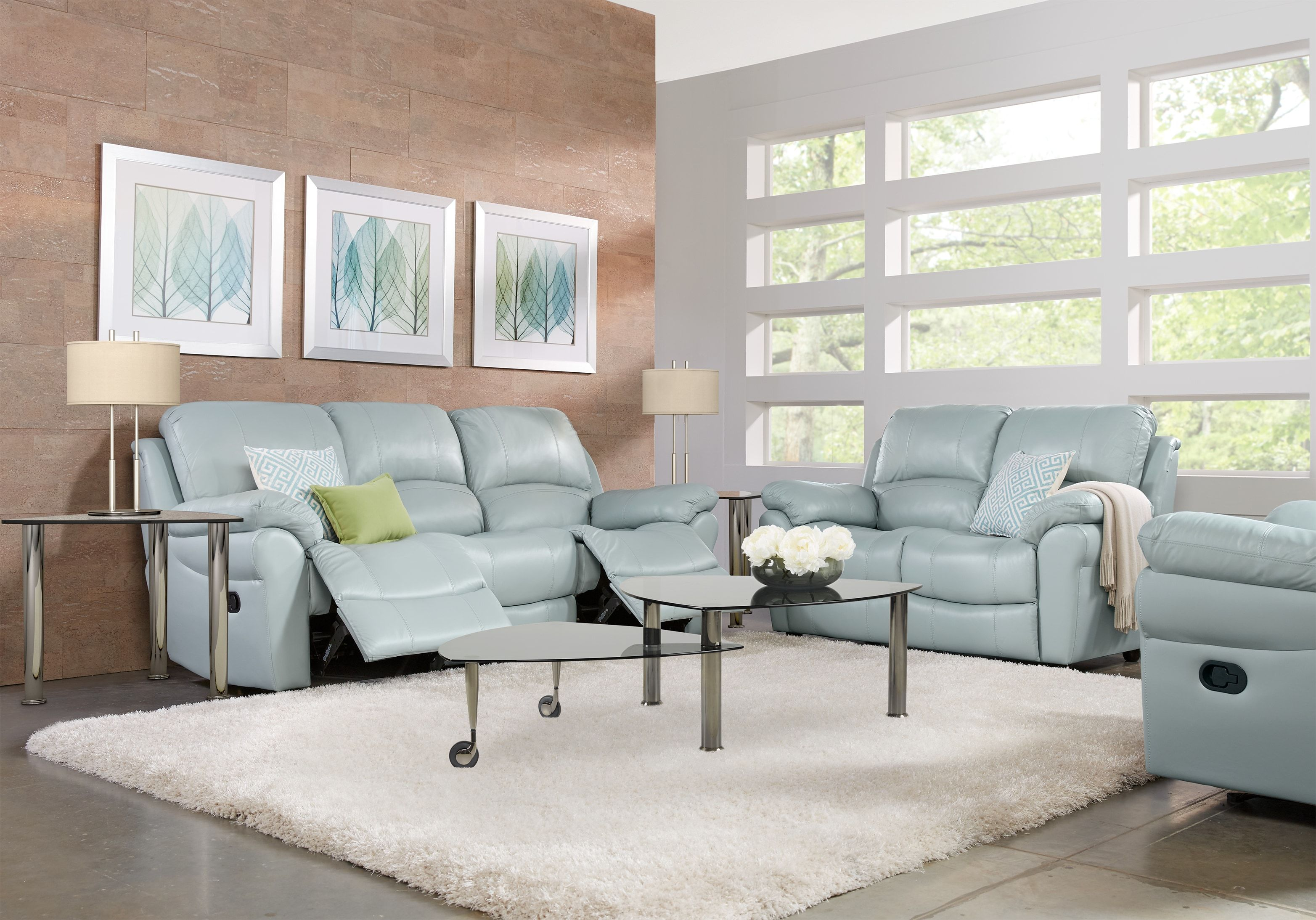 Best Vercelli Aqua Leather 5 Pc Living Room With Reclining Sofa 640 x 480