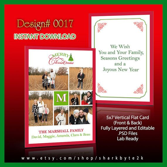 Photoshop Christmas Card Template Size 5x7 Psd Layers Instant Etsy Photoshop Christmas Card Template Christmas Card Template Christmas Photo Card Template