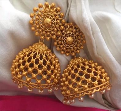 c0720e30d13f7 Latest 20 Gold Antique Jhumka Designs 2018 - ArtsyCraftsyDad ...