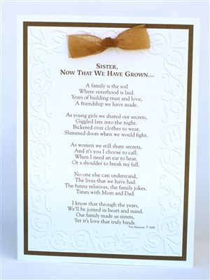Great Wedding Gift Ideas For Sister : special card for your sister, a great wedding day gift for sister ...