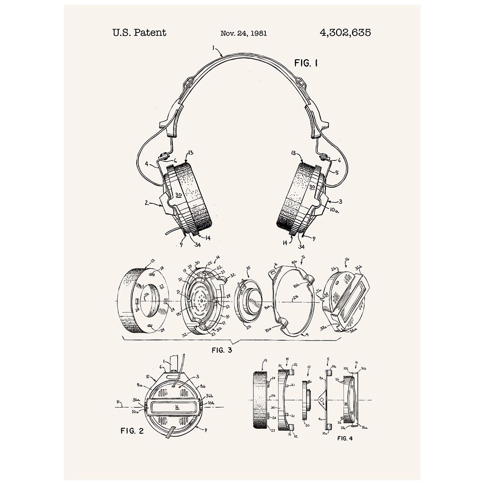 Headphones patent poster screen print decoration technical headphones patent poster screen print decoration technical invention design blueprint schematic retro educational screenprint by inkedandscreened malvernweather Gallery
