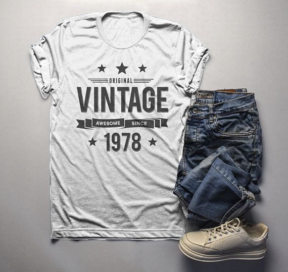 305de8d07 Men's 40th Birthday T Shirt Original Vintage Shirt Forty Awesome Since 1978  Tshirt