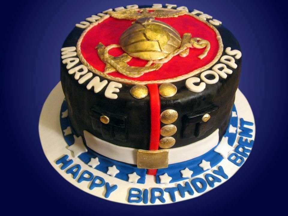 Marine corps theme birthday cake by Jaklins Cupcakes Glendale CA