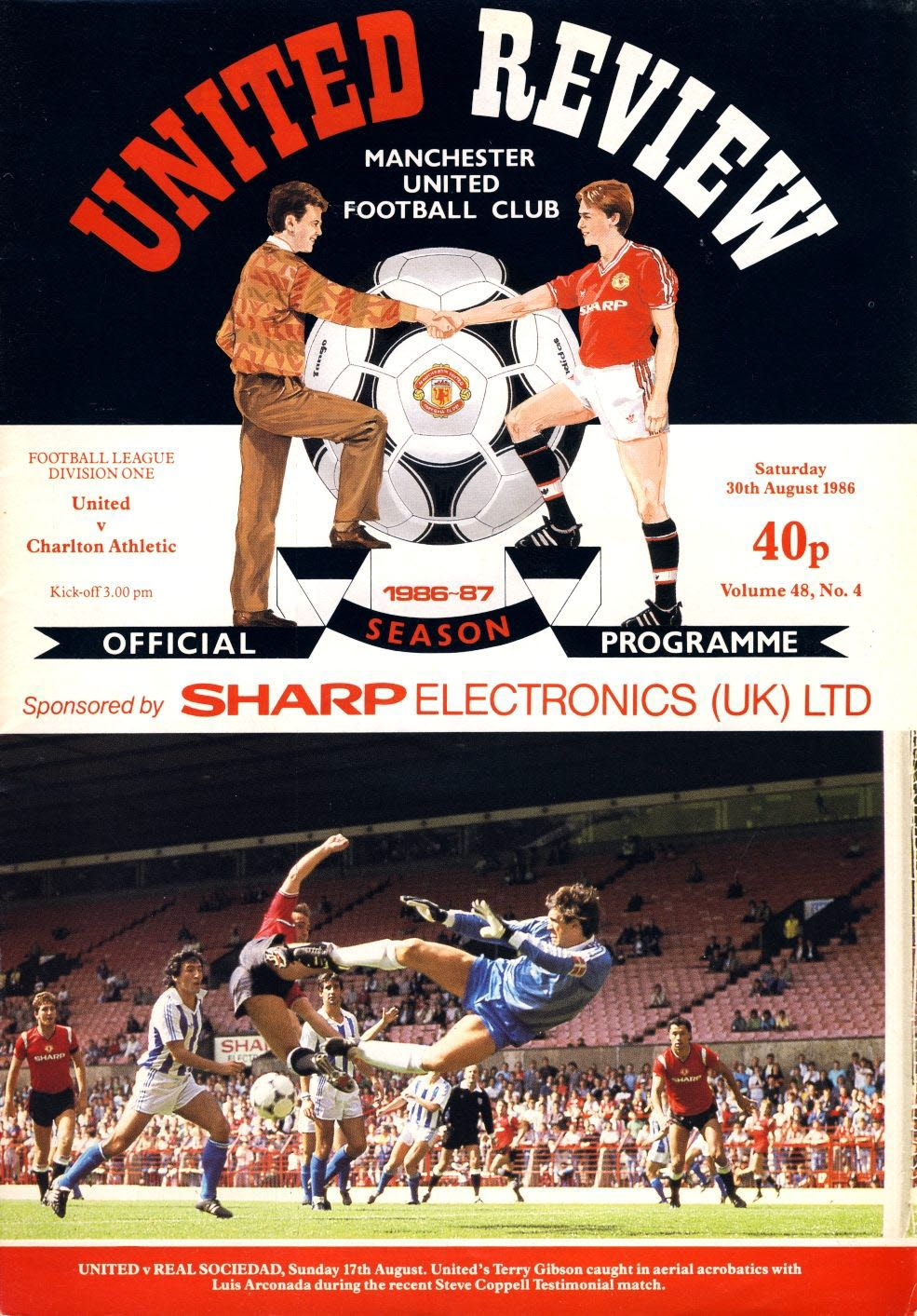 Manchester Utd V Charlton Athletic 30th August 1986 Official Programme Refe102060 United Review Charlton Athletic Manchester United Club Manchester United