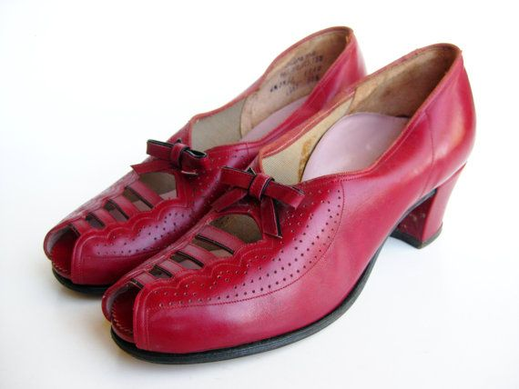 Cut Toe Heel Swing Out High Jitterbug Vintage Cherry 40s Peep Red wn6qgB40I