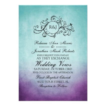#Wedding Rustic Teal Purple Bohemian Wedding Invitation This Classy Aqua  Teal Turquoise Blue And Violet