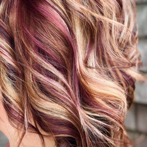 Red Violet Against Blonde Burgundy Blonde Hair Blonde Hair Color